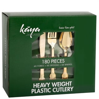 Kaya Collection 180 PC Disposable Plastic Silverware Set - Gold Cutlery  Baroque Design 60 Forks, 60 Knives and 60 Spoons