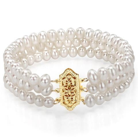DaVonna 14k Yellow Gold Triple-strand 4-5mm White Freshwater Pearl Bracelet