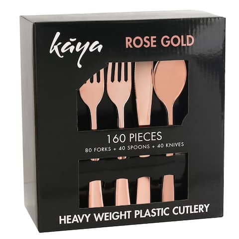 160 PC Disposable Rose Gold Plastic Silverware Set - For Weddings & Parties, 80 Forks, 40 Knives and 40 Spoons