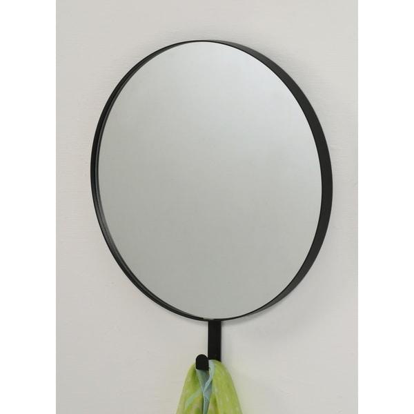 Benda Wall Mounted Round Accent Mirror - Black