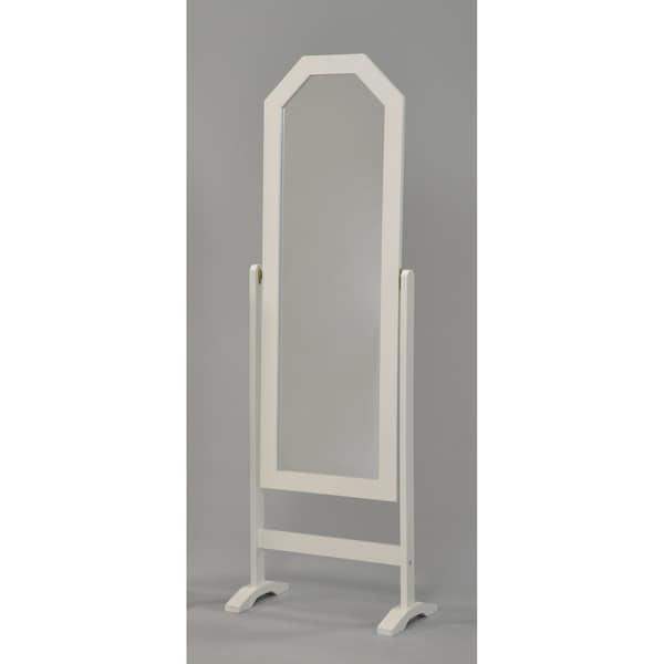 Elegant Cheval Standing Mirror-Navy Finish - White