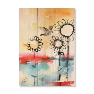 Fuzzy Flowers_Bird - 11x15 - Inside/Outside WoodWall Art - Multi-color