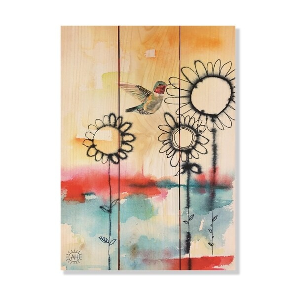 Fuzzy Flowers_Bird - 11x15 - Inside/Outside WoodWall Art - Multi-color