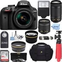 Nikon D3400 DSLR Camera (Black) w/ 18-55mm & 70-300mm Lenses and Accessory Bundle