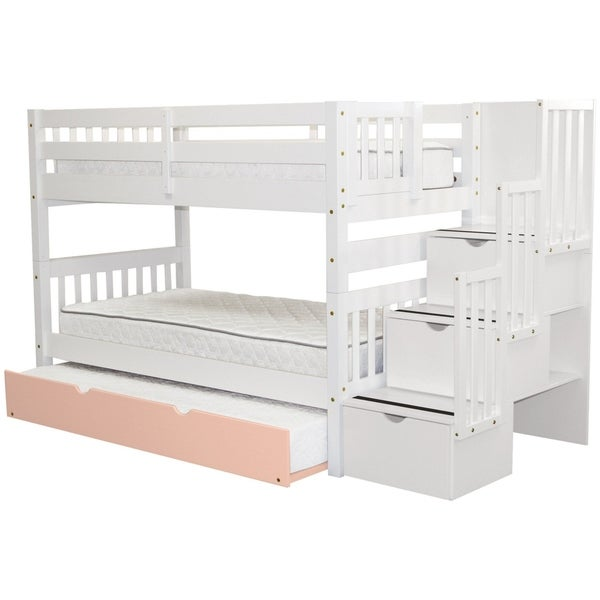 shop bedz king stairway white pink wooden twin over twin bunk beds with trundle steps 3. Black Bedroom Furniture Sets. Home Design Ideas
