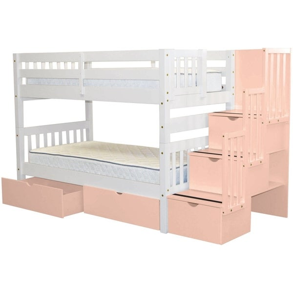 0a964a6f09b41c Bedz King Stairway Bunk Beds Twin over Twin with 3 Pink Drawers in the Steps  and