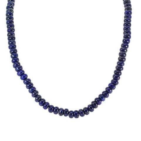 Gems en Vogue Palladium Silver Roundelle Lapis Bead Necklace