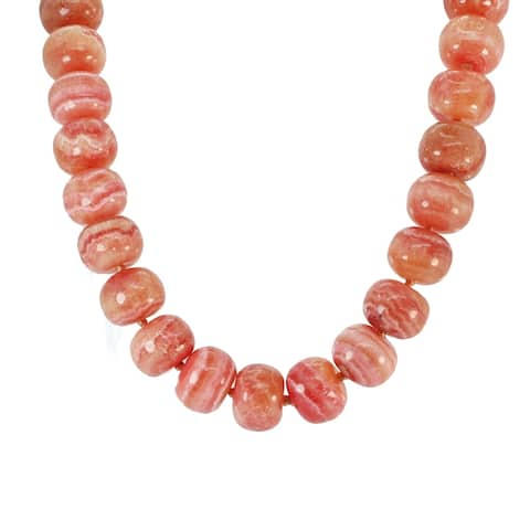 Gems en Vogue Palladium Silver Rhodochrosite Bead Necklace