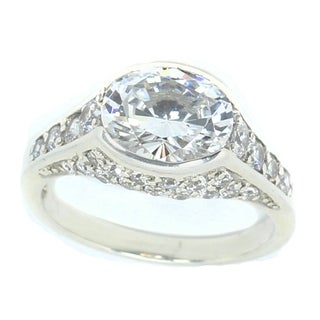 Michael Valitutti Sterling Silver Cubic Zirconia Oval Ring