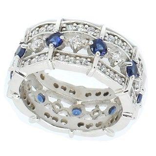 Michael Valitutti Sterling Silver Cubic Zirconia & Created Blue Sapphire Ring