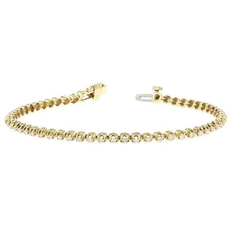 14KY Straight Line Diamond Tennis Bracelet - 1 CTTW - White
