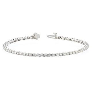 14KW Straight Line Diamond Tennis Bracelet - 3 CTTW - White
