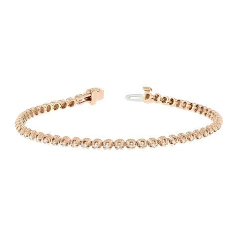14KR Straight Line Diamond Tennis Bracelet - 1 CTTW - White
