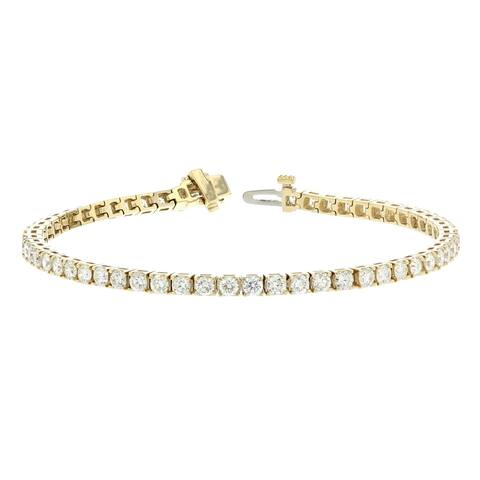 14KY Straight Line Diamond Tennis Bracelet - 5 CTTW - White