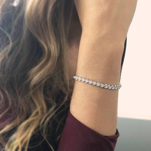 14KW Heart Link Diamond Tennis Bracelet - 1.5 CTTW - White