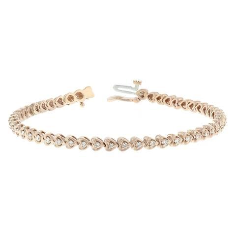 14KR Heart Link Diamond Tennis Bracelet - 1 CTTW - White