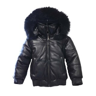 Kid's Black Genuine Leather Bubble Bomber Jacket with Hood