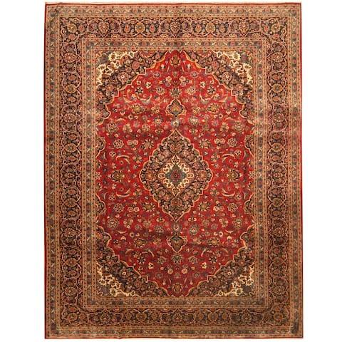 Handmade Herat Oriental Persian Hand-knotted Kashan Wool Rug (9'9 x 13') - 9'9 x 13'