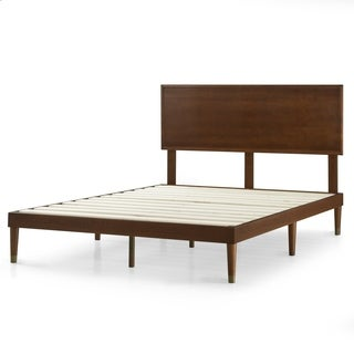 Priage Deluxe Mid-Century Wood Platform Bed with Headboard, no Box Spring needed