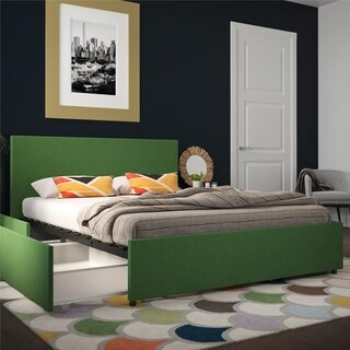 Novogratz Kelly Linen Upholstered Bed with Storage
