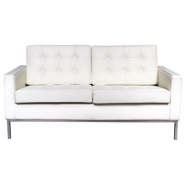 Leisuremod Florence Mid Century Tufted Oned White