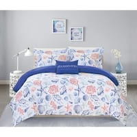 "Chic Home Veluz 4 Piece Reversible Duvet Cover Set ""Sea Sand Surf"""