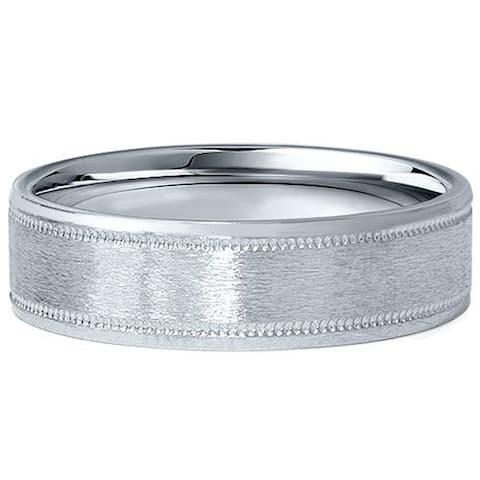 Pompeii3 Platinum 6mm Flat Ring Mens Brushed Wedding Band