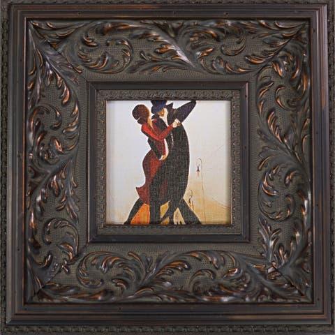 """ArtistBe Tango by Justyna Kopania with Black Spanish Walnut Frame Miniature Wall Art, 15""""x15"""""""