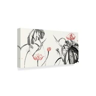 Nan Rae 'Lotus Study With Coral Ii' Canvas Art