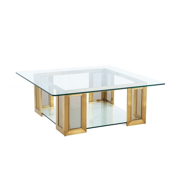 Irvine Antique Gold Over Stainless Steel and Glass Cocktail Table