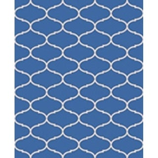 Ribbon Blue/ Beige Indoor/ Outdoor Flatweave Contemporary Patio, Pool, Camp, and Picnic Rug - 7'10 x 9'10