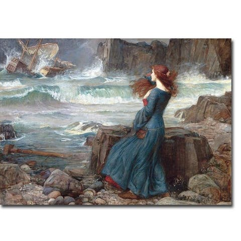Miranda - The Tempest by John Waterhouse Gallery Wrapped Canvas Giclee Art (24 in x 32 in, Ready to Hang) - Multi-color