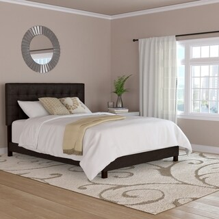 Handy Living Brown Faux Leather Tufted Upholstered Queen Bed