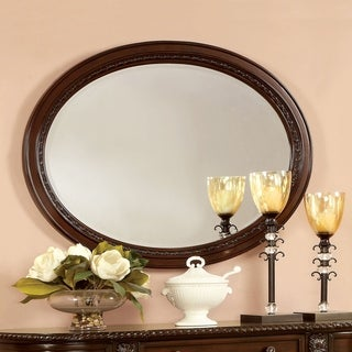 Furniture of America Kova Traditional Cherry 49-inch Oval Wall Mirror