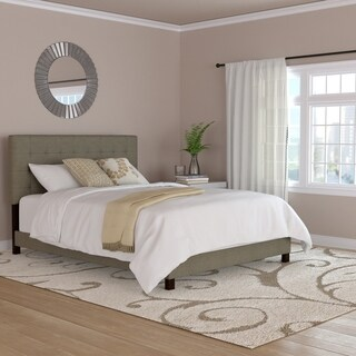 Handy Living Grey Woven Tufted Upholstered Queen Bed