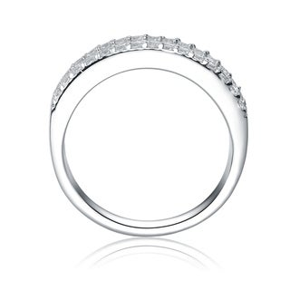 Collette Z Sterling Silver with Rhodium Plated Clear Baguette with Round Cubic Zirconia Pave Anniversary Ring