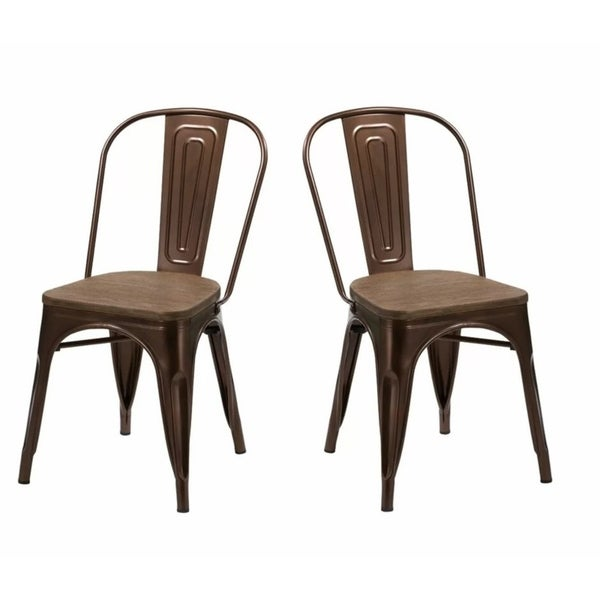 Modrest Jethro Modern Copper & Wood Dining Chair (Set of 2)