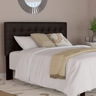 Handy Living Brown Faux Leather Upholstered Queen Headboard