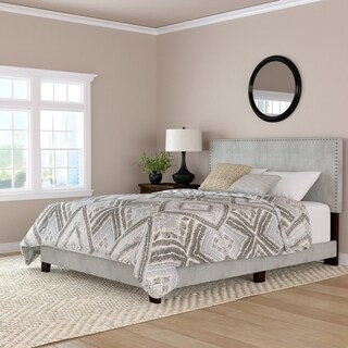 Handy Living Fawn Grey Velvet Upholstered Queen Bed