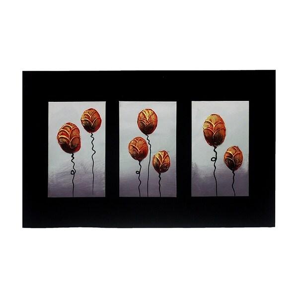 Essential Decor & Beyond '3D Modern Flower' Acrylic Painting EN18137 - Orange