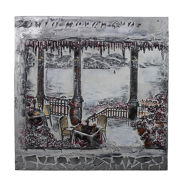 Essential Decor & Beyond Patio by the Lake Oil Painting EN40694 - Grey