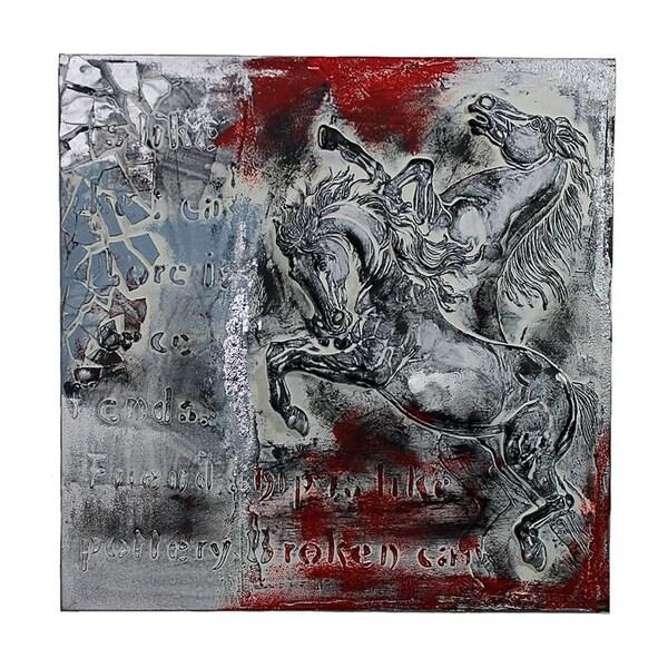 Essential Decor & Beyond 'Running Horse' Oil Painting EN40691 - White