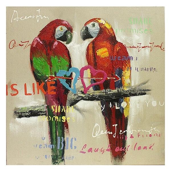 Essential Decor & Beyond Parrots Oil Painting on Canvas EN111889 - Multi-color