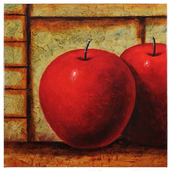 Essential Decor & Beyond 'Apples' Oil Painting on Canvas EN2646 - Red