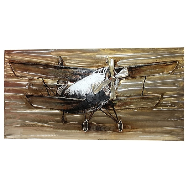 Essential Decor & Beyond 'Plane with Propeller' Oil Painting EN111913 - White