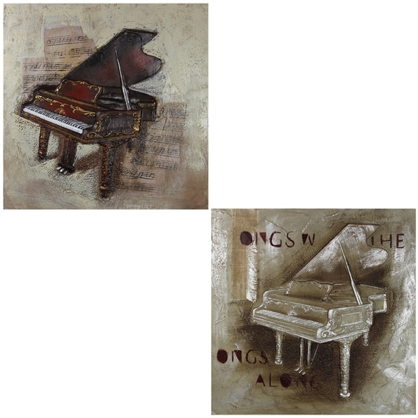 Essential Decor & Beyond '2pc. Piano' Oil Painting on Canvas EN110341 - Multi-color