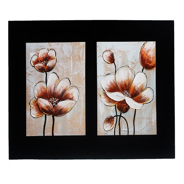 Essential Decor & Beyond 3D Modern Flower Oil Painting on Canvas EN18135 - Orange