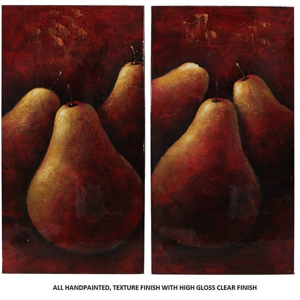 Essential Decor & Beyond '2pc.Pears' Oil Painting on Canvas EN2639 - Red