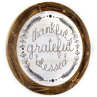 American Art Decor Wood Thankful Grateful Blessed Wall Sign
