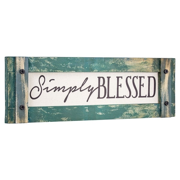 American Art Decor Simply Blessed Wood Canvas Sign